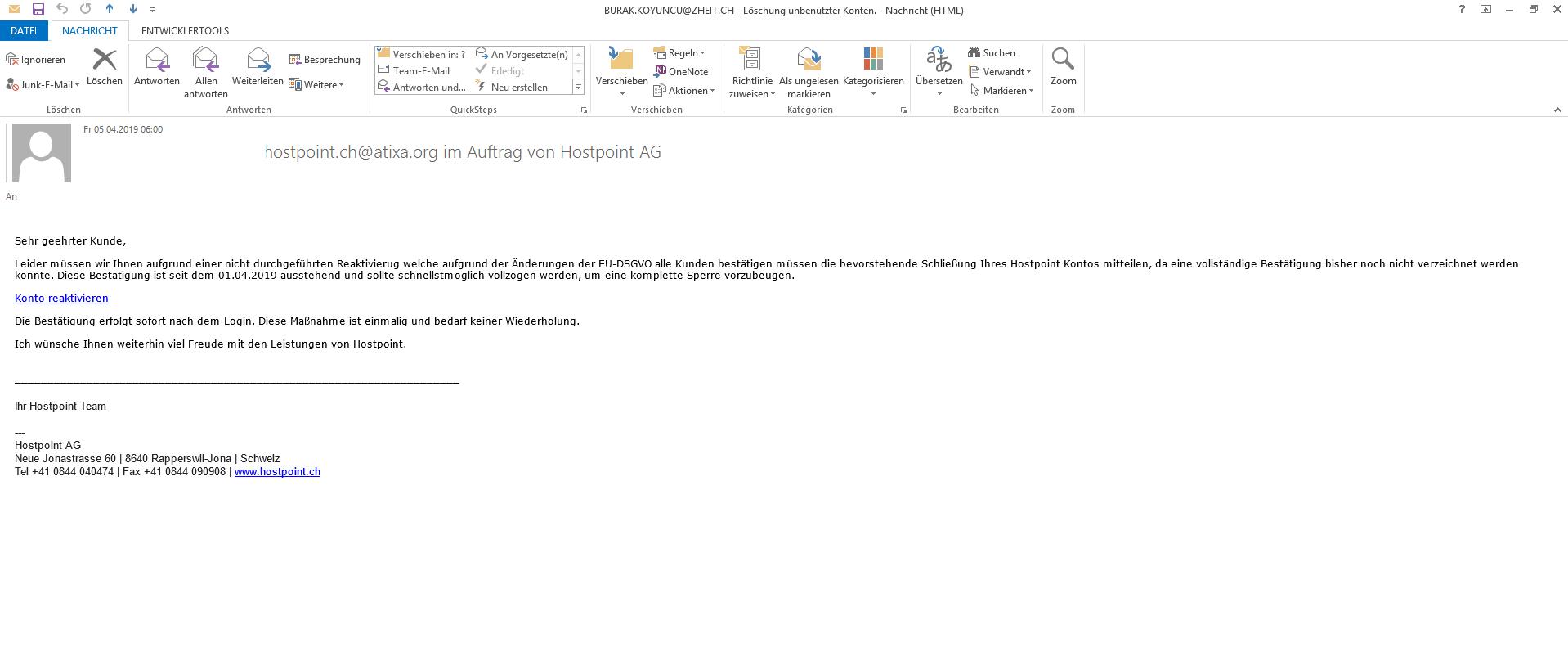 Hostpoint Phishing-Emails im Umlauf!